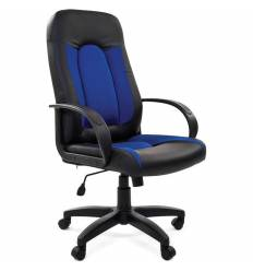 Кресло CHAIRMAN 429/BLUE для руководителя, экокожа/ткань, цвет черный/синий