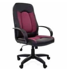 Кресло CHAIRMAN 429/BORDO для руководителя, экокожа/ткань, цвет черный/бордовый
