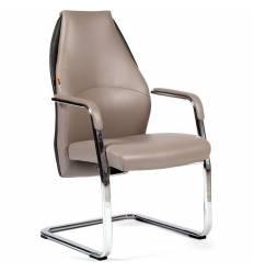 Кресло CHAIRMAN Basic V для посетителя, экокожа бежево-черная