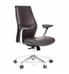 Кресло CHAIRMAN Vista M для руководителя, кожа темно-серая