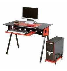 Стол Smartbuy SB-T1229BR компьютерный, стеклянный, черный с красным