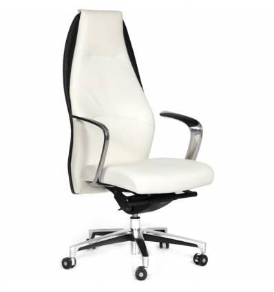 Кресло CHAIRMAN Basic/White для руководителя, кожа бело-черная