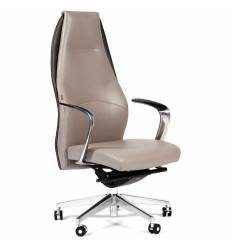 Кресло CHAIRMAN Basic/Beige для руководителя, кожа бежево-черная
