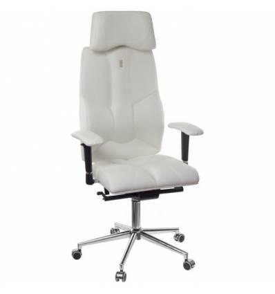 Кресло Kulik-System Business для руководителя, ортопедическое с подголовником, цвет белый