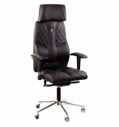 Кресло Kulik-System Business для руководителя, ортопедическое с подголовником, цвет черный