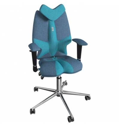 Кресло Kulik System Fly детское 8-14 лет, ортопедическое, цвет джинс/бирюза