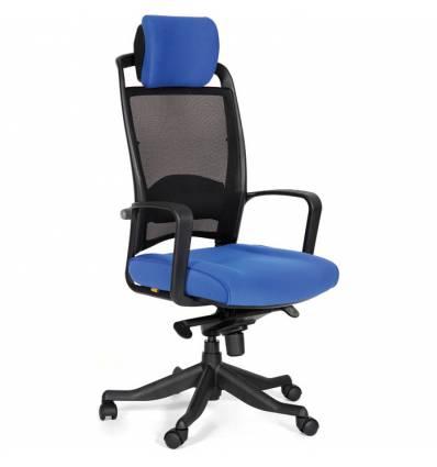 Кресло CHAIRMAN 283/26-21 для руководителя, Сетка/Ткань, цвет черный/голубой