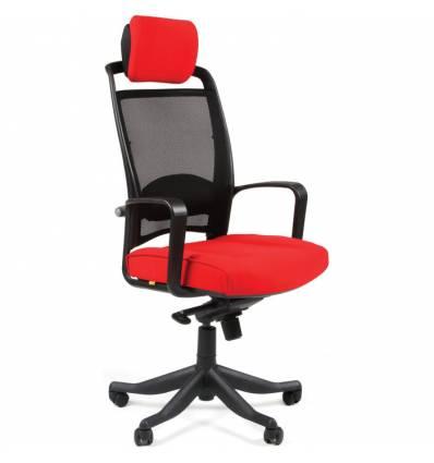 Кресло CHAIRMAN 283/26-22 для руководителя, Сетка/Ткань, цвет черный/красный