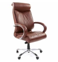 Кресло CHAIRMAN 420/brown для руководителя, кожа, цвет коричневый