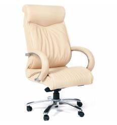 Кресло CHAIRMAN 420/beige для руководителя, кожа, цвет бежевый