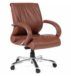 Кресло CHAIRMAN 444/brown для руководителя, кожа, цвет коричневый
