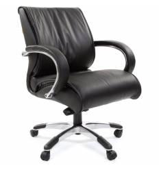 Кресло CHAIRMAN 444/black для руководителя, кожа, цвет черный