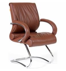 Кресло CHAIRMAN 445/brown для посетителя, кожа, цвет коричневый