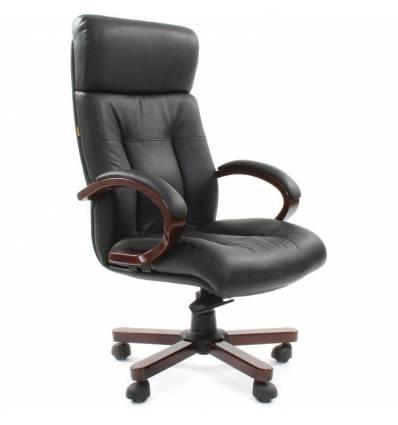 Кресло CHAIRMAN 421 для руководителя, кожа, цвет черный