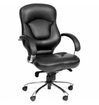 Кресло CHAIRMAN 430/black для руководителя, кожа, цвет черный