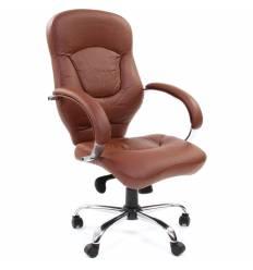 Кресло CHAIRMAN 430/brown для руководителя, кожа, цвет коричневый
