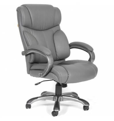 Кресло CHAIRMAN 435/grey для руководителя, кожа, цвет серый