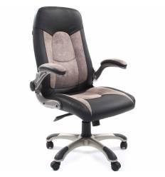 Кресло CHAIRMAN 439/grey для руководителя, микрофибра/экокожа, цвет серый/черный