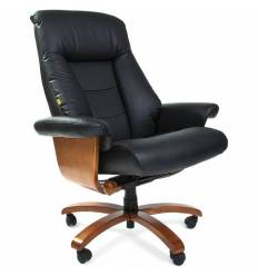 Кресло CHAIRMAN 400/BLACK для руководителя, кожа, цвет черный