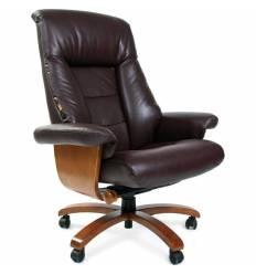 Кресло CHAIRMAN 400/BROWN для руководителя, кожа, цвет коричневый