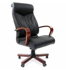 Кресло CHAIRMAN 420 WD/black для руководителя, кожа, цвет черный