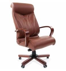 Кресло CHAIRMAN 420 WD/brown для руководителя, кожа, цвет коричневый