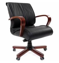Кресло CHAIRMAN 444 WD/black для руководителя, кожа, цвет черный