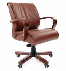 Кресло CHAIRMAN 444 WD/brown для руководителя, кожа, цвет коричневый