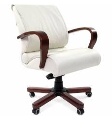 Кресло CHAIRMAN 444 WD/white для руководителя, кожа, цвет белый