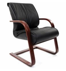 Кресло CHAIRMAN 445 WD/Black для посетителя, кожа, цвет черный