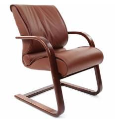 Кресло CHAIRMAN 445 WD/brown для посетителя, кожа, цвет коричневый