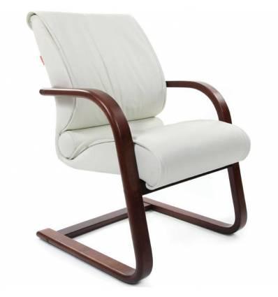 Кресло CHAIRMAN 445 WD/white для посетителя, кожа, цвет белый