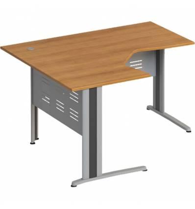 Стол офисный СТОРОСС Формула ФР-1206-ОН эргономичный левый на металлокаркасе МФ для персонала, 140*118*75, цвет орех натуральный