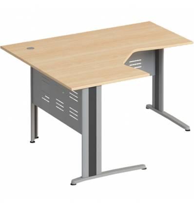 Стол офисный СТОРОСС Формула ФР-1206-БК эргономичный левый на металлокаркасе МФ для персонала, 140*118*75, цвет бук