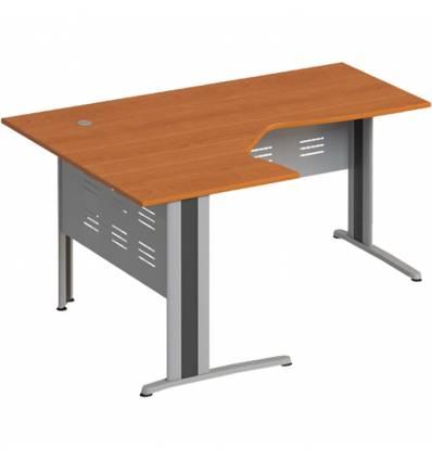 Стол офисный СТОРОСС Формула ФР-1208-ЛХ эргономичный левый на металлокаркасе МФ для персонала, 160*118*75, цвет ольха