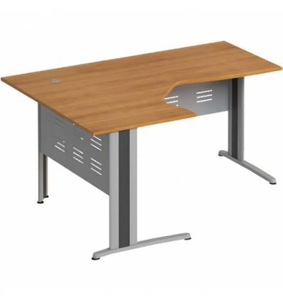 Стол офисный СТОРОСС Формула ФР-1208-ОН эргономичный левый на металлокаркасе МФ для персонала, 160*118*75, цвет орех натуральный