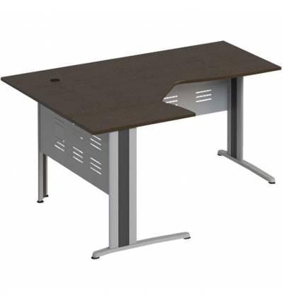Стол офисный СТОРОСС Формула ФР-1208-ВТ эргономичный левый на металлокаркасе МФ для персонала, 160*118*75, цвет венге