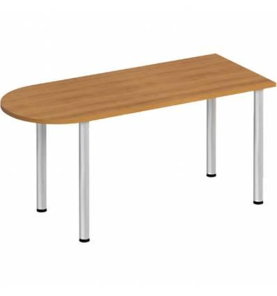 Стол офисный СТОРОСС Формула ФР-2102-ОН полукруглый на хромированных опорах для персонала, 160*67*75, цвет орех натуральный
