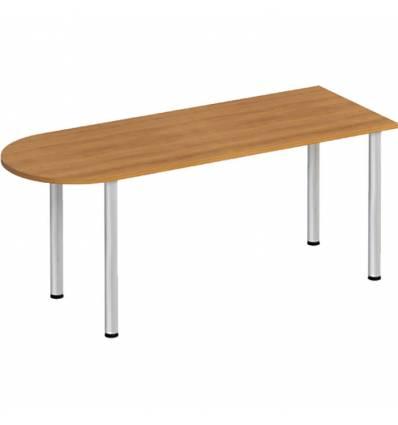 Стол офисный СТОРОСС Формула ФР-2103-ОН полукруглый на хромированных опорах для персонала, 180*67*75, цвет орех натуральный