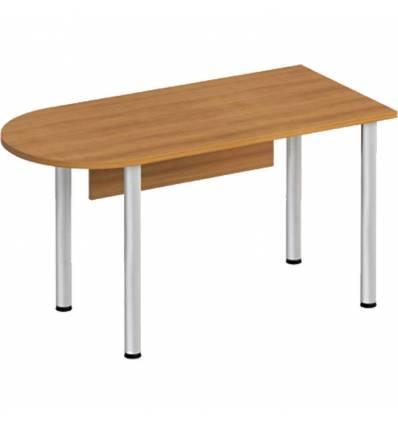 Стол офисный СТОРОСС Формула ФР-2111-ОН полукруглый на хромированных опорах для персонала, 140*67*75, цвет орех натуральный