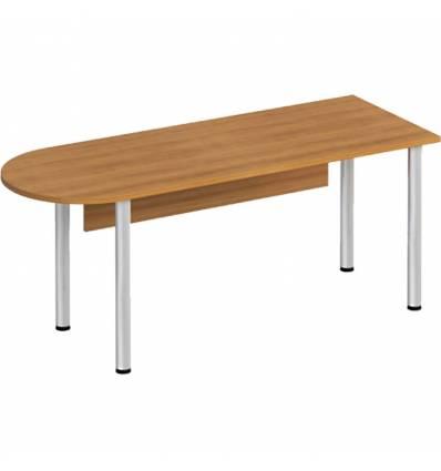 Стол офисный СТОРОСС Формула ФР-2113-ОН полукруглый на хромированных опорах для персонала, 180*67*75, цвет орех натуральный