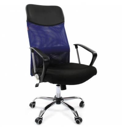 Кресло CHAIRMAN 610/BLUE для руководителя, сетка/ткань, цвет синий/черный