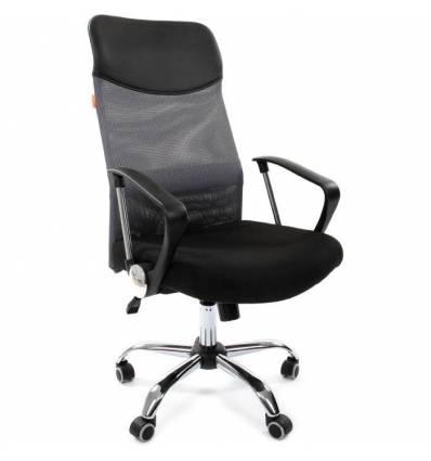 Кресло CHAIRMAN 610/GREY для руководителя, сетка/ткань, цвет серый/черный
