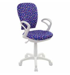 Кресло Бюрократ CH-W513AXN/CACTUS-BL детское, для оператора, цвет синий кактусы, белый пластик