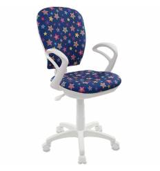 Кресло Бюрократ CH-W513AXN/STAR-BL детское, для оператора, цвет синий звезды, белый пластик