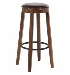 Стул барный деревянный LMZ-701H коричневый, искусственная кожа