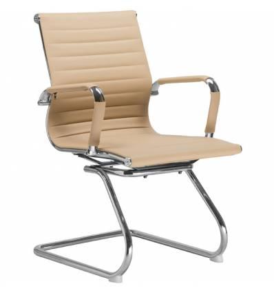 Кресло LMR-102N/beige для посетителя, экокожа, цвет бежевый