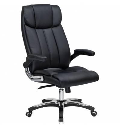 Кресло LMR-107B/black для руководителя, экокожа, цвет черный