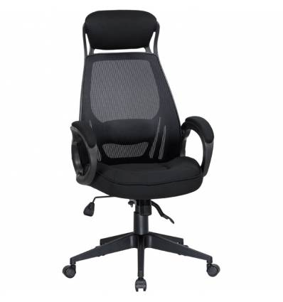 Кресло LMR-109BL/black для руководителя, сетка/ткань, цвет черный, пластик