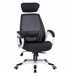 Кресло LMR-109BL/white для руководителя, сетка/ткань, цвет черный, пластик белый